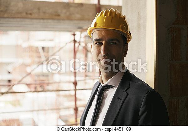 sisak, munka, emberek, magabiztos, házhely, fényképezőgép, biztonság, profi, portré, építészmérnök, szerkesztés, mosolyog vidám - csp14451109