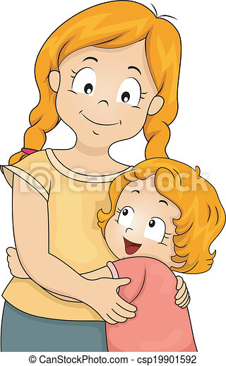 sister hug illustration of a little girl giving her elder sister a