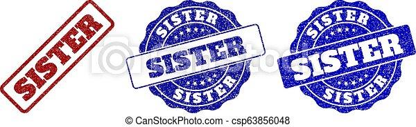 SISTER Scratched Stamp Seals - csp63856048