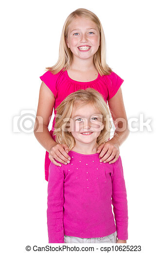 sisters hugging and looking at each other - csp10625223