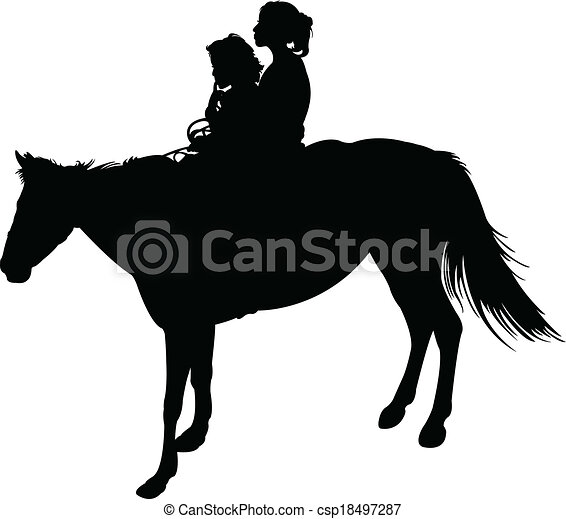 sisters on horse silhouette vector  - csp18497287