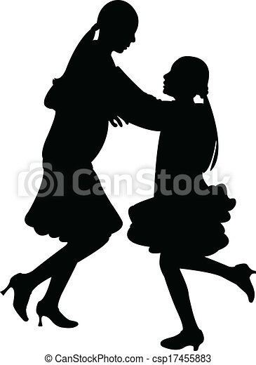 sisters playing, jumping silhouette - csp17455883