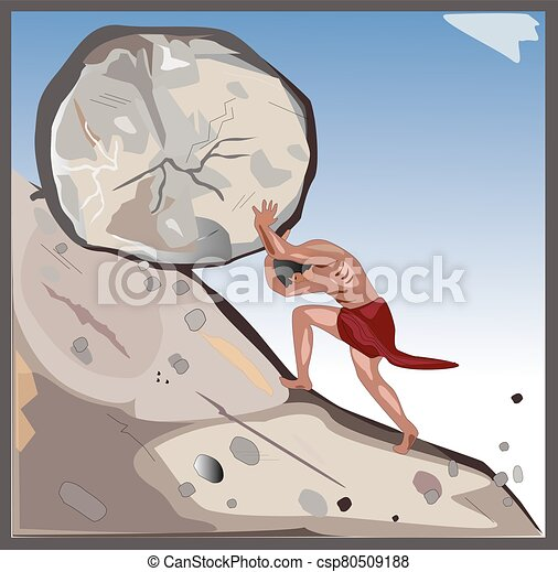 Sisyphus a muscular mythical man pushes a large rock or big stone - csp80509188