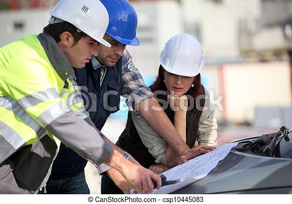 site construction, équipe - csp10445083