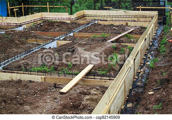 site, métal, vue, formwork, bois, tige, construction - csp82145909