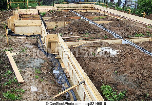 site, métal, vue, formwork, bois, tige, construction - csp82145816
