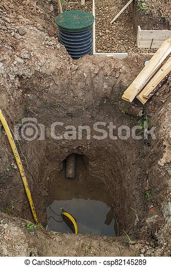 site, trenches, fondation, vue, construction - csp82145289