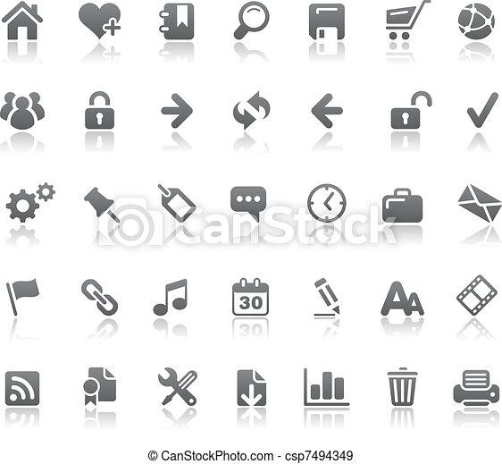 site web, //, élémentsessentiels, &, icônes, internet - csp7494349