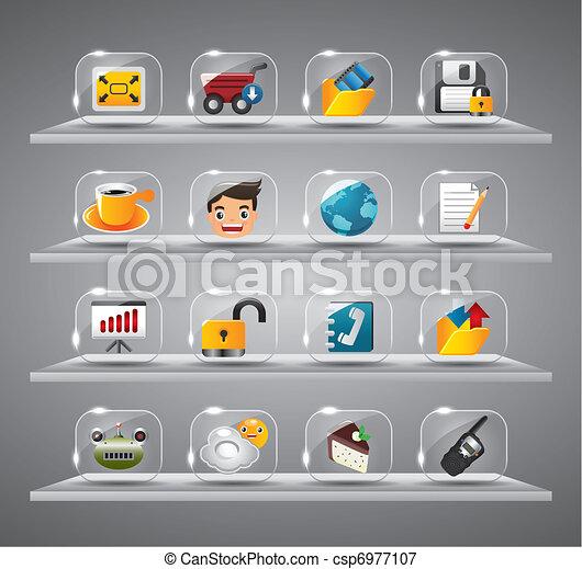 site web, ícones, botão, vidro, internet - csp6977107