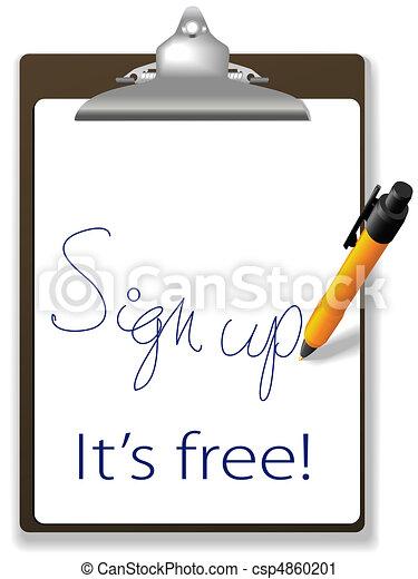 site web, cima, livre, sinal, caneta, área de transferência, ícone - csp4860201