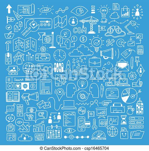 site web, desenvolvimento, elementos, negócio, doodles - csp16465704