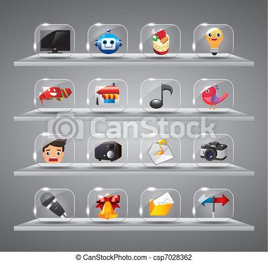site web, icônes, bouton, verre, internet - csp7028362