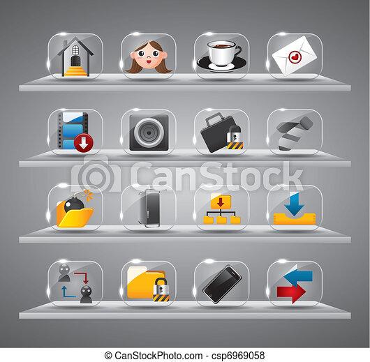 site web, icônes, bouton, verre, internet - csp6969058