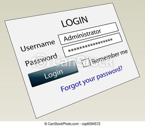 site web, login, mot passe, assurer, id - csp6094572