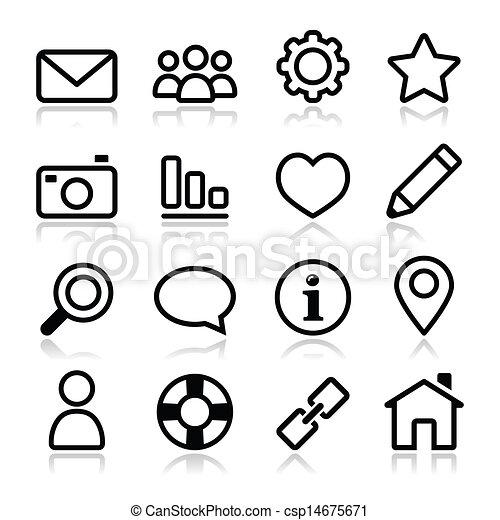 site web, menu, apoplexia, navegação, ícone - csp14675671