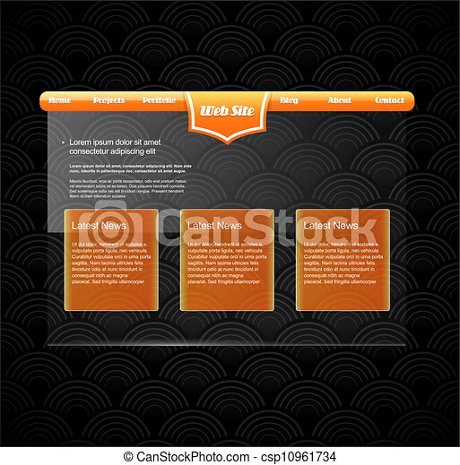 site web, orange, gabarit, banner. - csp10961734