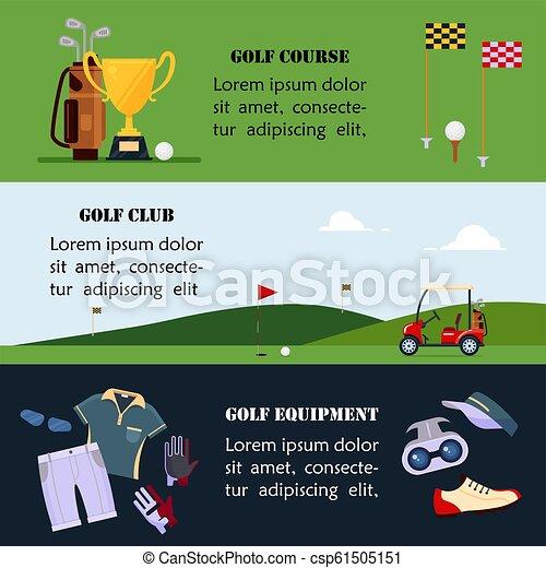 site web, plat, ensemble, golf, bannière, école, -, en-tête, championnat, accessoires, illustration, clubs, tournois, cours, jeu, vecteur, jouer golf, sport, vêtements - csp61505151