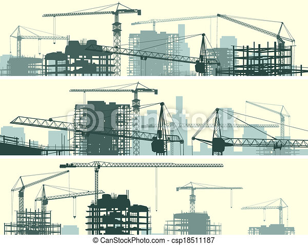 Site with cranes and building. - csp18511187