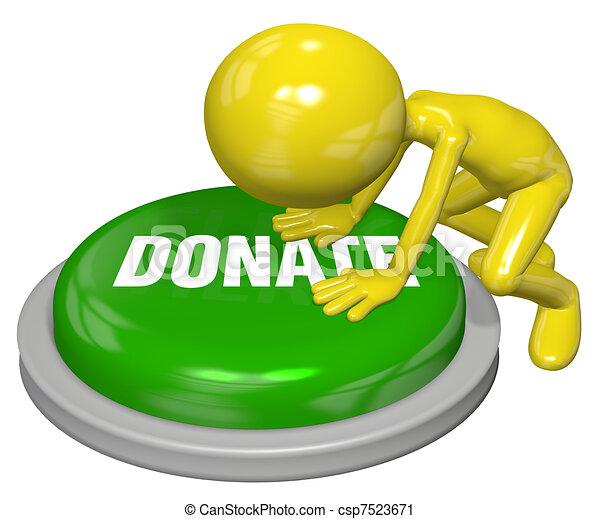 La persona da pulsación de botón a la página web DONATE - csp7523671