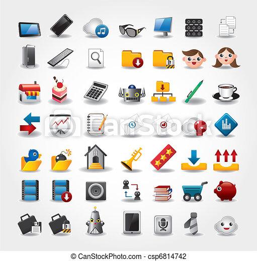 sitio web, conjunto, y, iconos, iconos, iconos, internet - csp6814742
