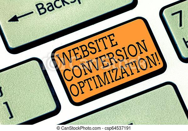 La palabra que escribe textos de conversión de página web optimización. Un concepto de negocios para el Sistema para incrementar los visitantes de la página web para crear un mensaje de computadora apretando ideas. - csp64537191