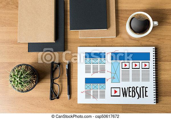Diseñador web de diseño de diseño de bocetos de software WWWW y proyecto de desarrollo de páginas gráficas - csp50617672