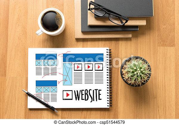 Diseñador web de diseño de diseño de bocetos de software WWWW y proyecto de desarrollo de páginas gráficas - csp51544579