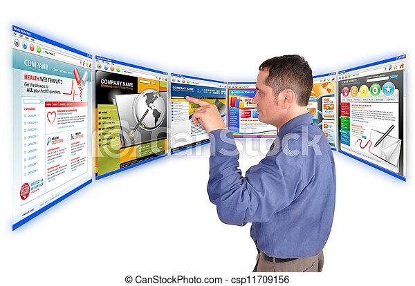sitio web, hombre, empresa / negocio, internet - csp11709156