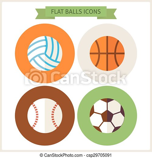 76439c6db4e Sitio web, plano, conjunto, iconos, pelotas, deporte. Sitio web ...
