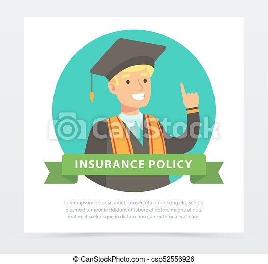Estudiante graduado, futuro concepto de planificación financiera, el elemento vectorial de la póliza de seguro para web o aplicación móvil - csp52556926