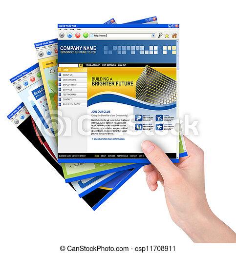 sitio web, plantillas, tenencia de la mano, internet - csp11708911