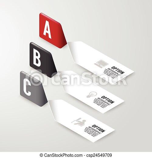 Fotografías modernas de diseño de opciones. Ilustración de vectores. Se puede usar para diseño de flujo de trabajo, diagrama, opciones de número, gráfico o web vector de distribución - csp24549709