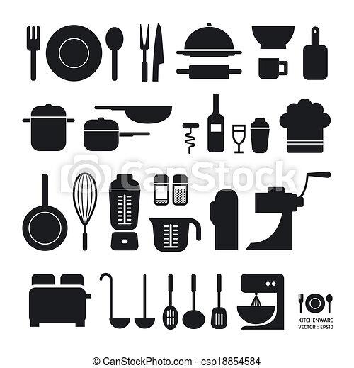 La colección de iconos de herramientas de cocina se puede usar para gráficos / gráficos o sitio web vector/Horizontal - csp18854584
