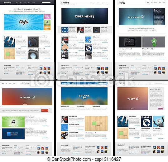 sitio web, tela, disposición, -, diseño, plantilla, 6, página - csp13116427