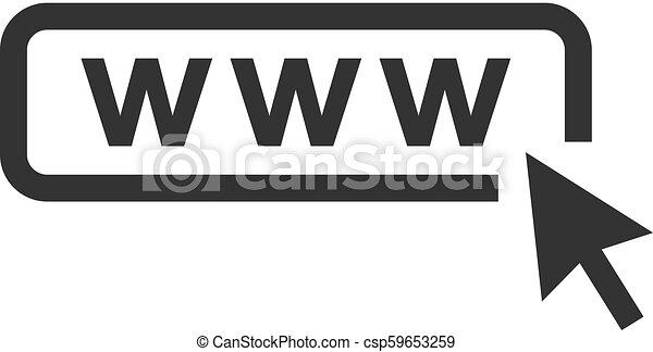Icono vector web con flecha. Icono web con cursor en movimiento - csp59653259