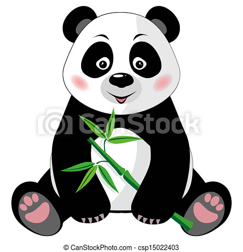 sitting cute panda with bamboo isolated on white background sitting rh canstockphoto com panda clipart keystone cops panda clipart lent