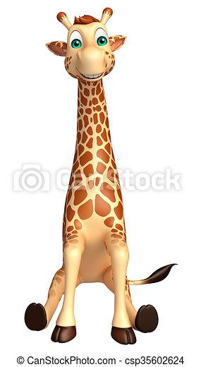 3d Rendered Illustration Of Sitting Giraffe Cartoon Character