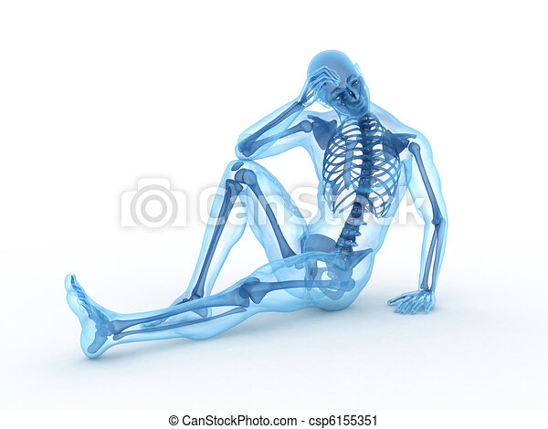 sitting male with visible bones - csp6155351