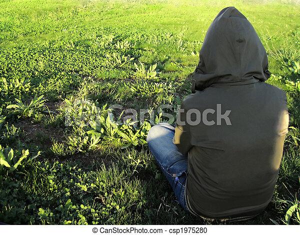 Sitting on grass - csp1975280