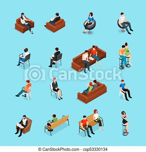 Sitting People Characters Set
