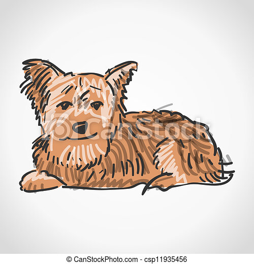 Sitting Yorkshire Terrier Illustration Of Brown Dog Isolated On