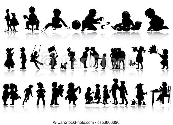 situations., abbildung, silhouetten, vektor, verschieden, kinder - csp3866890