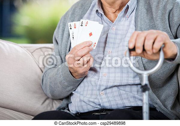 sitzen, ausstellung, senioren, vier, während, asse, mann - csp29489898