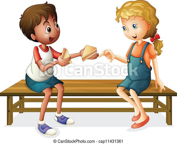 Kinder sitzen im kreis clipart  Clip Art Vektor von sitzen, kinder, bank - abbildung, von, kinder ...