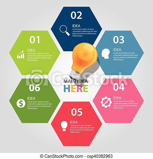 Six 6 elements of idea info graphic chart vector bulb business shine ...