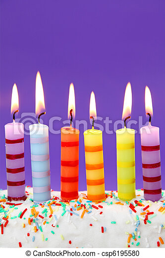 Six Birthday Candles On Lilac Background
