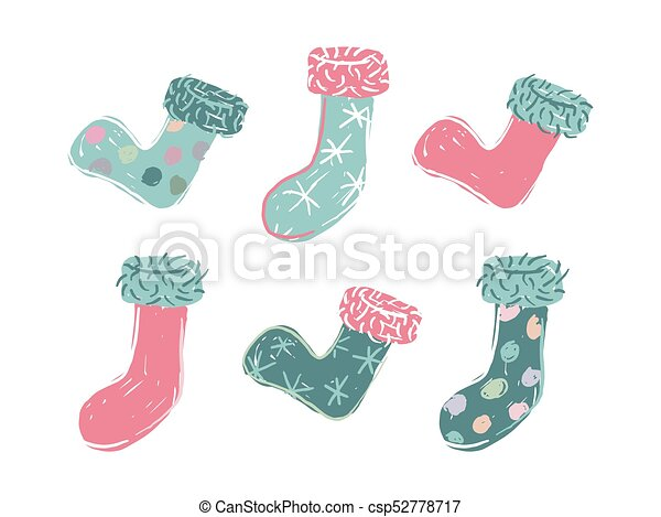 Six cartoon colored christmas stocking - csp52778717