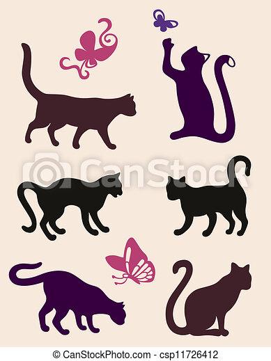 Six cat silhouettes - csp11726412
