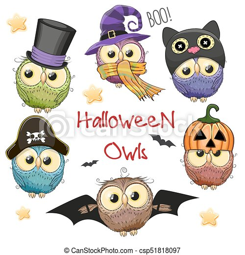 Six Cute Halloween Owls