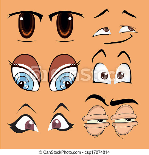 six different styles of eyes with different colors and expressions
